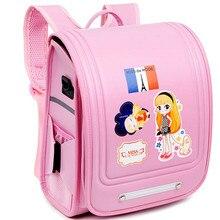High-end waterproof PU Girls Bag Trolley School Bags Transformer Children Transformer Rolling Backpack for Kids Pink Schoolbags