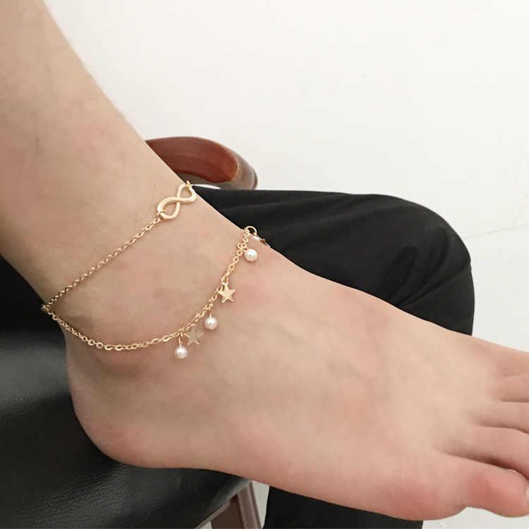 Сандалии Босиком женские браслет новые ювелирные изделия с кисточкой двойные звезды 8 слово ножной браслет пляжные браслеты на ногу лодыжки браслеты