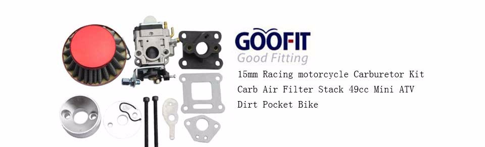 GOOFIT 15mm Racing Carburateur Kit 2 Stroke Carb Filtre /à air Stack 49cc Mini VTT Dirt Bike Pocket
