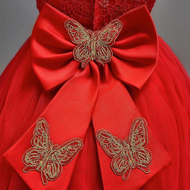 LCJMMO Flower Girl Dress Red Mesh Trailing Butterfly Girls Dama de - Ropa de ninos - foto 5