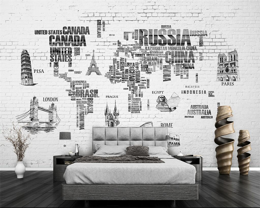 Beibehang Custom Wallpaper World Map Hand Painted Nordic Tv Backdrop Wall 3d Home Decor Living Room Bedroom Murals 3d Wallpaper