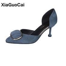 Womans Pumps DOrsay Two-Piece Summer Female High Heel 6-8cm Shoes Square Buckle Sexy Pointed Toe Single Footwear For Ladies