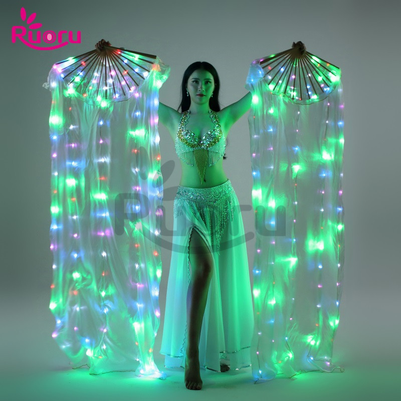 Stage & Dance Wear 1 Pieces Fans Stage Performance Belly Dance Led Fans 180cm Level Hand Props Belly Dance Accessories Rainbow Strong Lamps Lovely Luster Belly Dancing