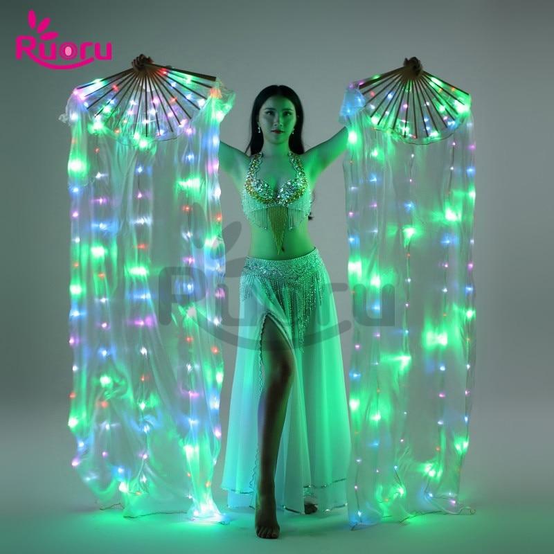 Ruoru 2 pieces 1 pair LED Belly Dance Silk Fan Veil 100 Silk Fan Veils Stage
