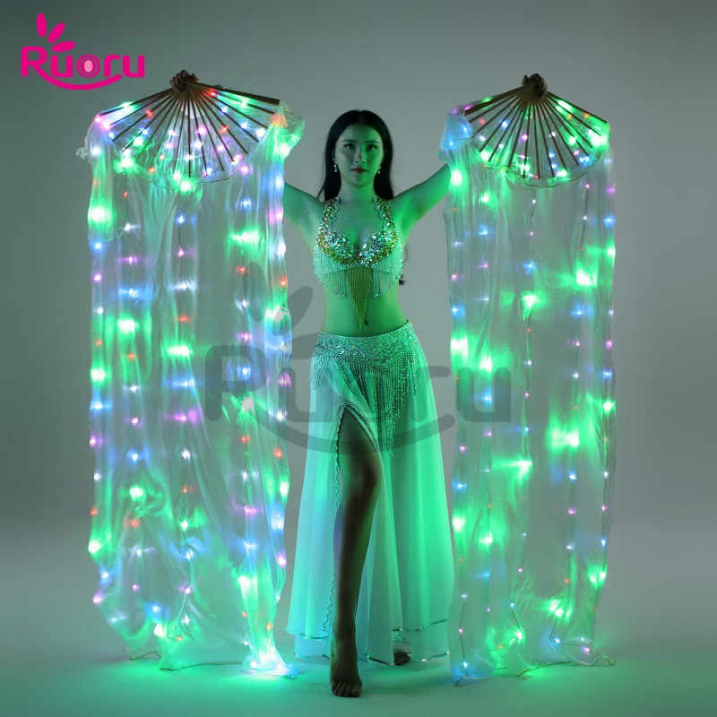 Ruoru Nuova Danza Del Ventre Led Veli di Seta Fan Colorato Fase Puntelli Puntelli di Prestazione Accessori Light Up Led Ventilatore di Seta di Velare di Ballo costumi