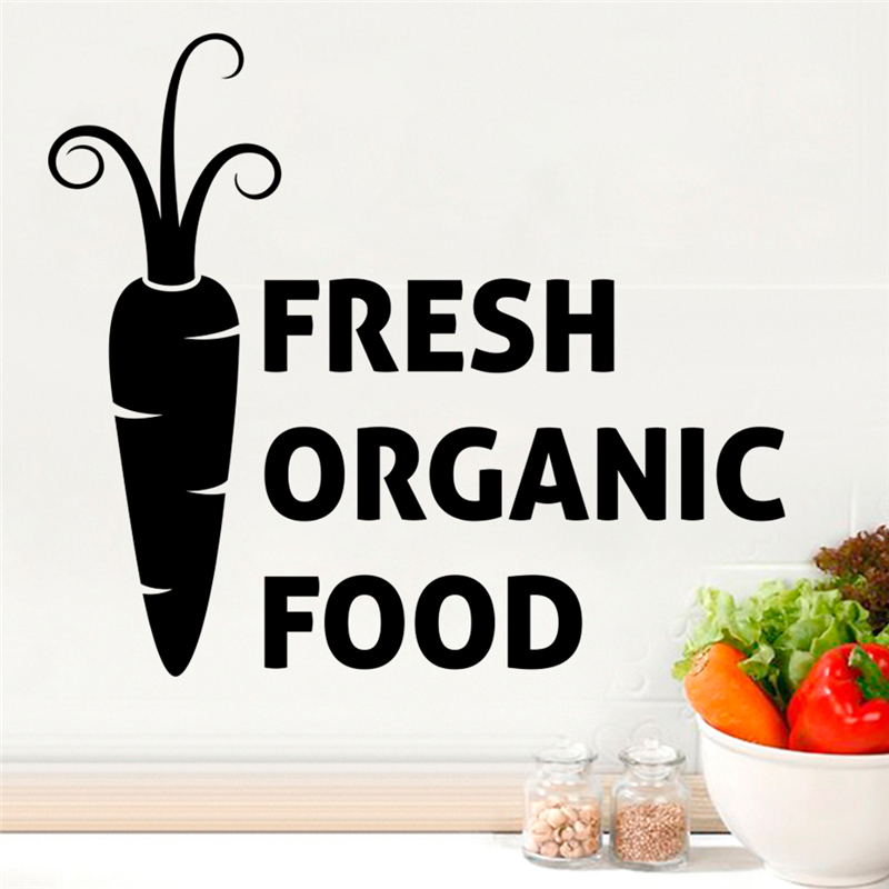 Kitchen Poster Food As Alphabet With Food Name: Fresh Organic Food Carrot Wall Stickers For Kitchen Window
