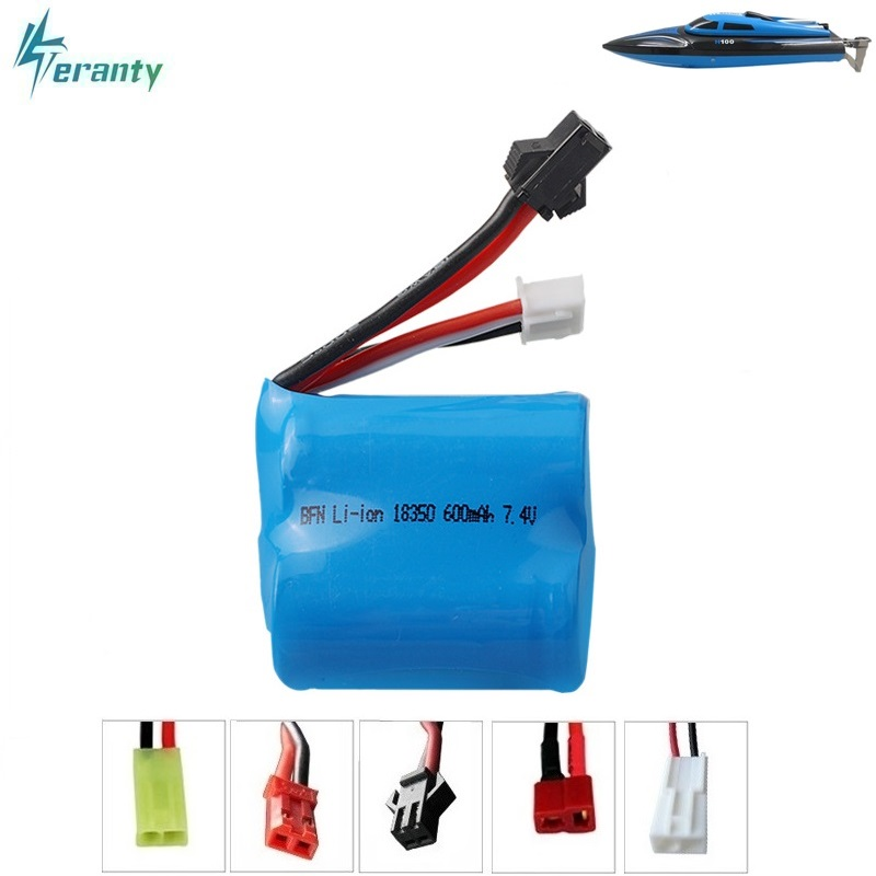 Original 7.4v(3.7v * 2) 600mAh 15C Li-ion battery for TK H100 H102 High speed remote control ship / RC boat 18350 7.4 v battery