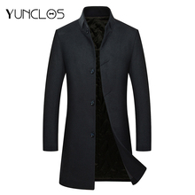 YUNCLOS Men's Woolen Coat Winter Cashmere Jacket Single Breasted Casual Overcoat Stand Collar Manteau Homme Overcoat Wool Coat