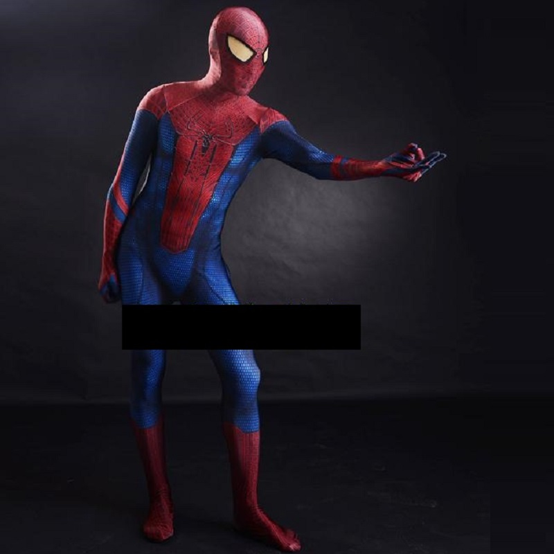 high quality the amazing spiderman spandex suit costume 3d adult black movie costumes original blue spider