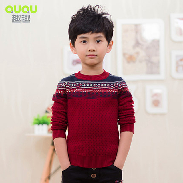 Children's clothing 2016 spring male child 100% cotton double layer  Kids Knitted  sweater medium-large q3008 child sweater