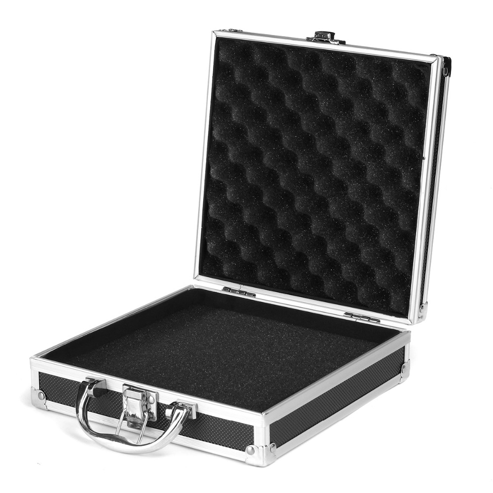 Aluminium Tattoo Carrying Case Permanent Makeup Supply Storage Box With Lock For Rotary Coil Tattoo/Gun Machine 205x205x65mm