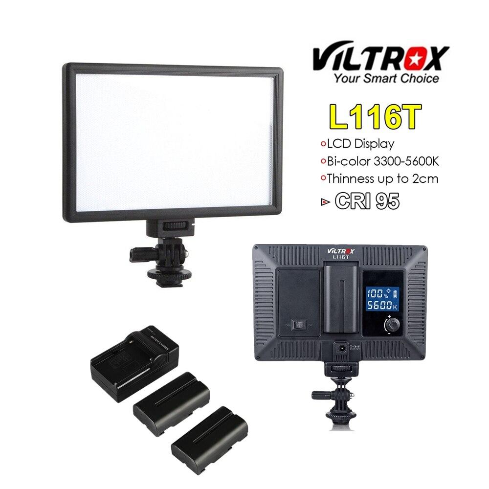 Viltrox L116T Portable LED Vidéo Lumière Ultra-mince LCD Bi-Couleur Dimmable DSLR Studio mini Lampe Panneau pour youTube montrent Caméra en direct
