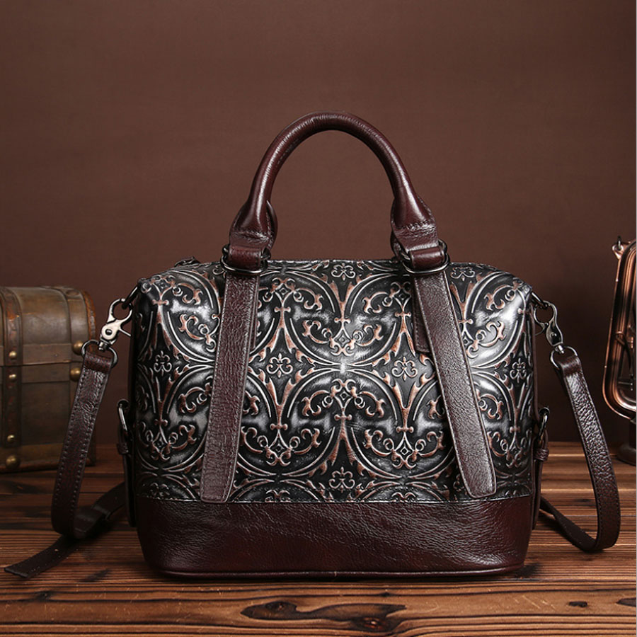 Vintage Trend Women Genuine Leather Tote Bag Casual Crossbody Messenger Shoulder Bags Famous Brand Embossed Cowhide Handbag new women vintage embossed handbag genuine leather first layer cowhide famous brand casual messenger shoulder bags handbags