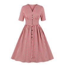 Ladies Office Vintage Dresses 50s 60s Red Plaid Button Up Shirt Dress V Neck Short Sleeves High Waist Woman Dress Knee Length button up plaid plus size shirt dress
