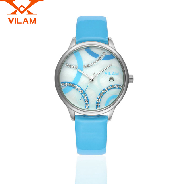 Feminino Assista VILAM Women Quartz Watch Classical Business Wristwatch Casual Watch Luxury Genuine Leather Strap V1057L