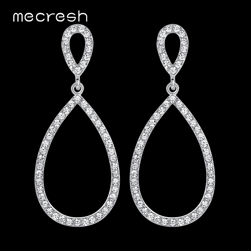 Mecresh Sederhana Bridal Panjang Anting untuk Wanita Warna Silver Kristal Pernikahan Bridesmaid Drop Earrings Mode Party Jewelry EH517