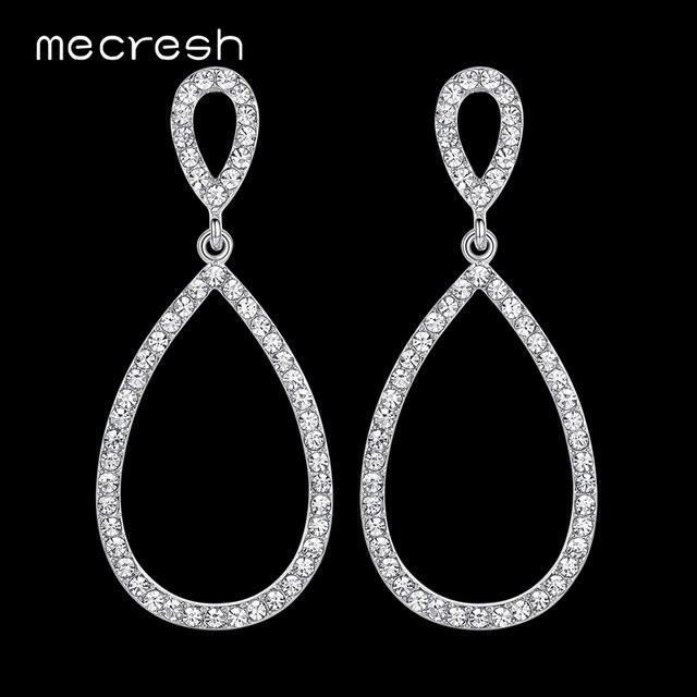 Mecresh простые свадебные длинные серьги для Для женщин Серебряный Цвет кристалл невесты свадебные серьги модные вечерние украшения EH517