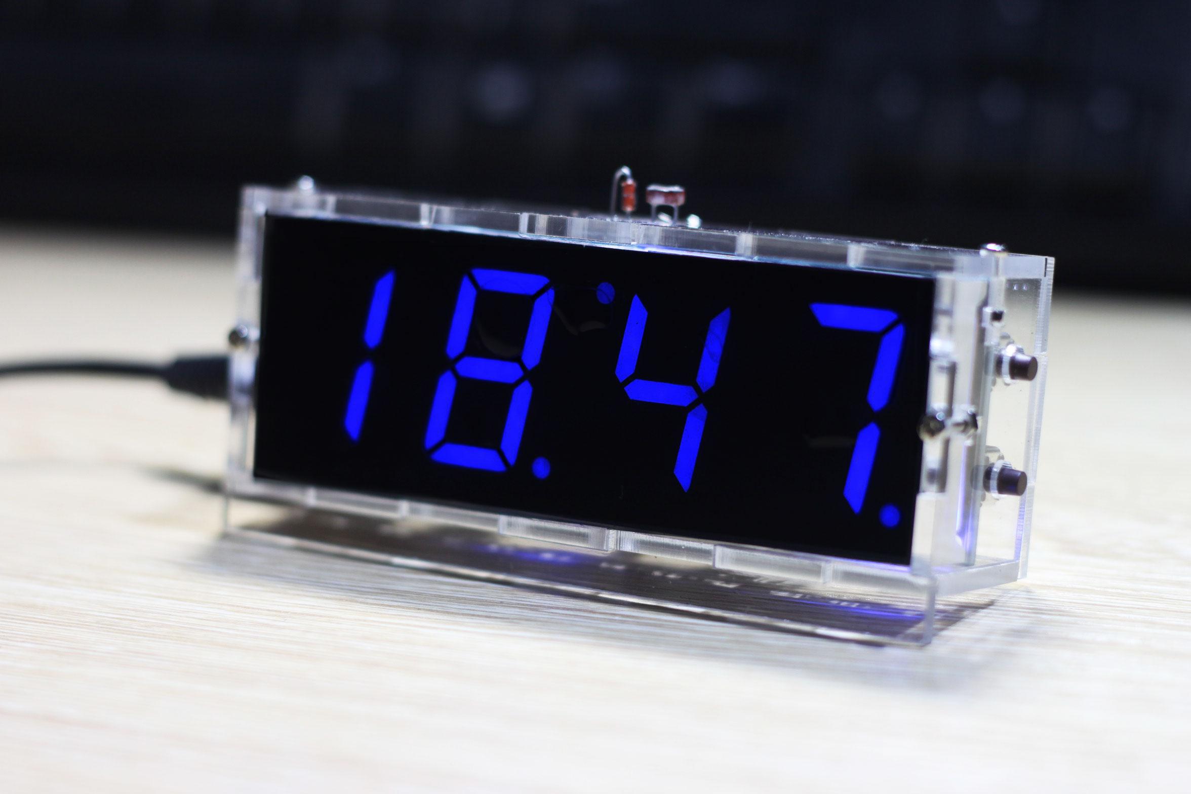 Blue LED Electronic Clock Time Thermometer Microcontroller Digital Clock DIY Kit