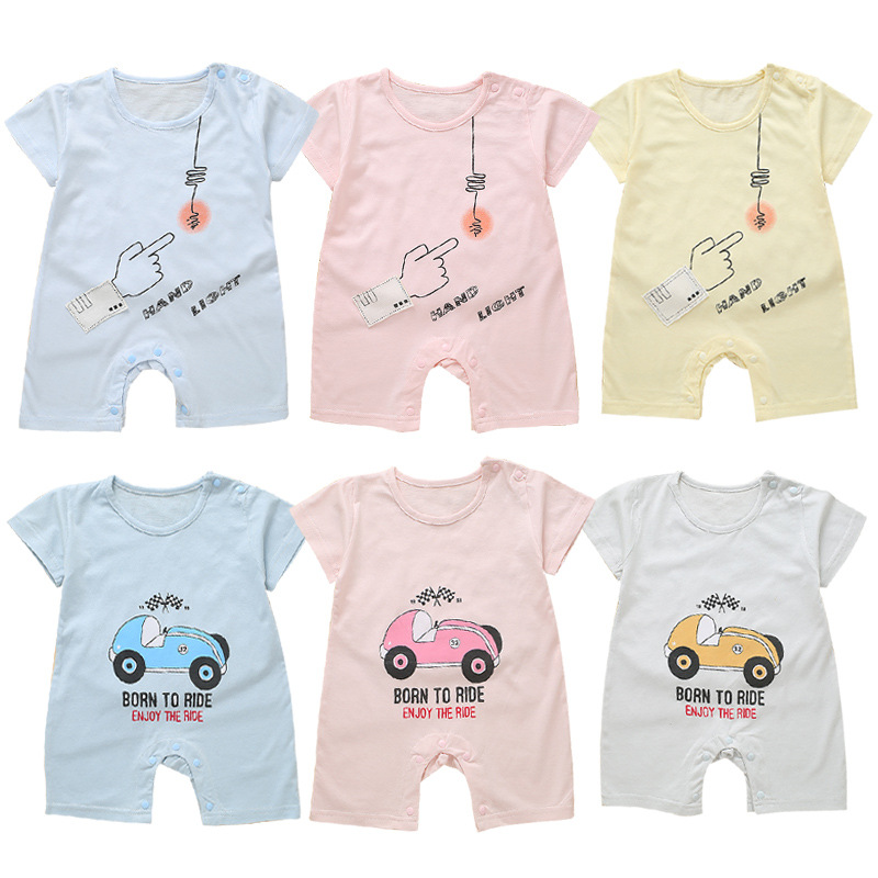 1 random delivery New baby short-sleeved baby dress 2018 new summer half-sleeved childrens clothing baby summer onesies