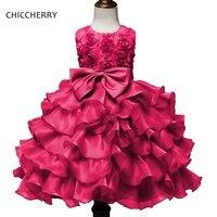 Ярко-розовый 3D Платье в цветочек для девочек для партии и свадьбы одежда Бутик Дети Выпускные платья Летняя Детская Костюмы bosudhsou