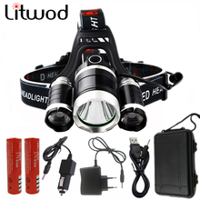 9000Lm Led lighting Head Lamp T6+2T6 LED Headlamp Headlight Camping Fishing Light+18650 battery+Car EU/US/AU/UK charger+USB