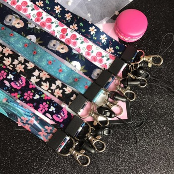 10Pcs/lot Rose Flower Neck Strap Lanyards for keys ID Card Gym Mobile Phone Straps USB badge holder DIY Hang Rope Pansy Lanyard dmlsky kiki s delivery service lanyard keychain anime lanyards for keys badge id mobile phone rope neck straps gifts m3865