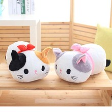 Gift for baby 1pc 50cm cartoon big face bow tie cat plush hold doll pillow cushion novelty creative stuffed toy