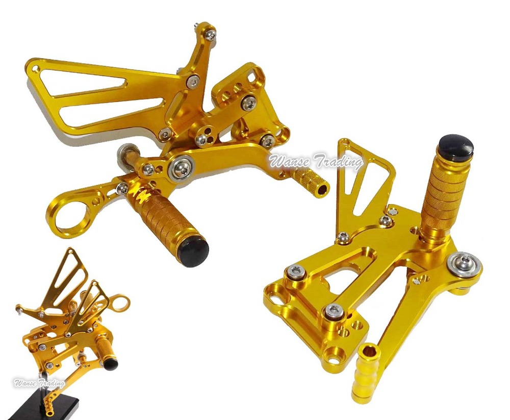 waase CNC Adjustable Rider Rear Sets Rearset Footrest Foot Rest Pegs Gold For BMW S1000R Naked 2014-2015