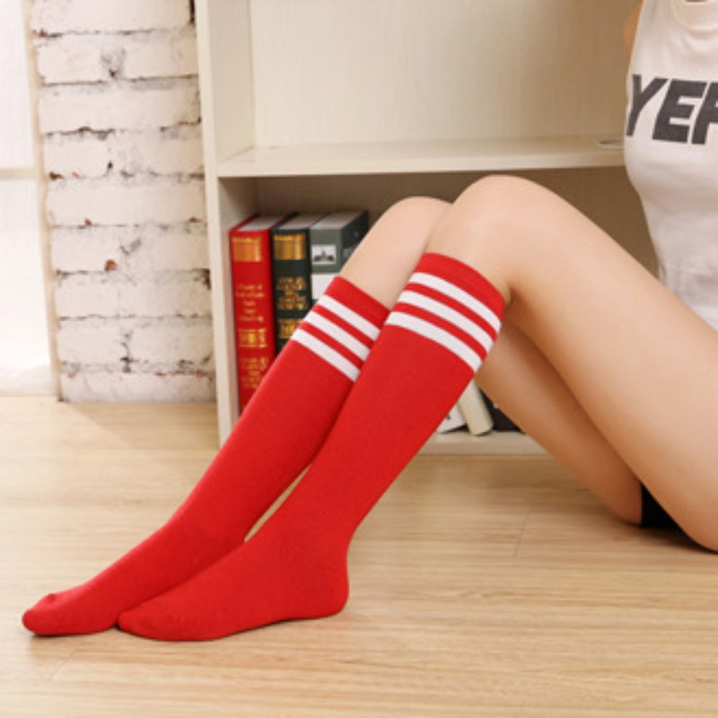 Women Girls Over The Knee Socks Thigh High Long Striped Stocking leather jacket
