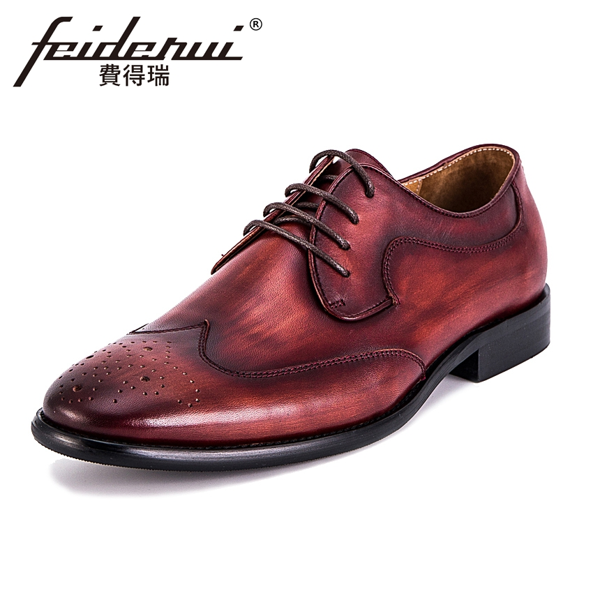 Vintage Brand Genuine Leather Men's Wingtip Footwear Round Toe Lace-up Man Party Flats Formal Dress Handmade Brogue Shoes KUD70 d knight lace up brogue shoes women wingtip round toe genuine cow leather mixed colors casual flats for ladies gilrs size 33 45
