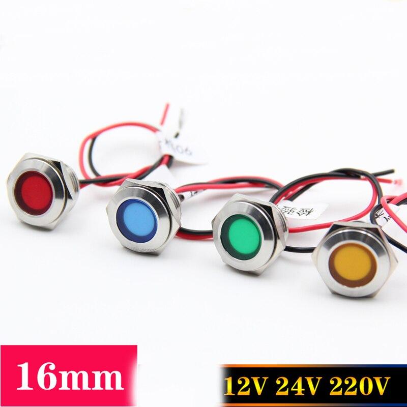 Металл LED индикатор 16 мм Водонепроницаемый сигнальная лампа 12 В 24 220 мощность