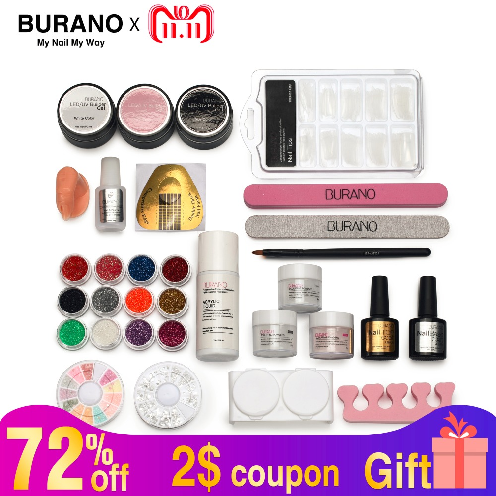 BURANO Acrylic nail kit Powder Liquid Glitter Brush Nail Tips Buffer Sticker File UV Gel Kit Nail Tools set power 2907 42x acrylic nail art tips powder liquid brush glitter clipper primer file set