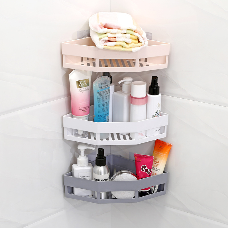 Storage Holder Shelves Bathroom 2019 New Design Triangular Shower Shelf Corner Bath Storage Holder Organizer Rack Suction Cup