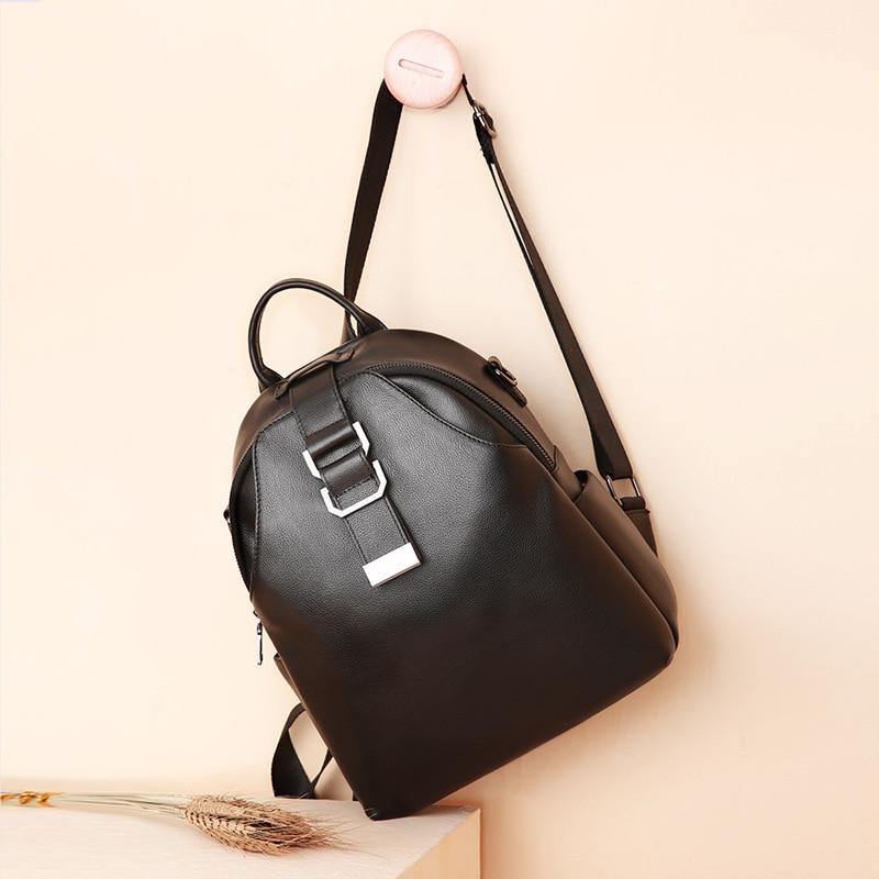 Nouveau femmes sac à dos en cuir véritable mode casual sacs haute qualité peau de vache femme sac à bandoulière sacs à dos pour filles de haute qualité - 6