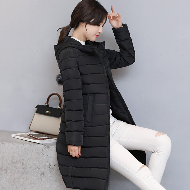 2019 Winter Women Jacket   Coat   Thicken Warmer Hooded   Down   Cotton Jacket High-end Medium Long Ms. Clothing Outerwear