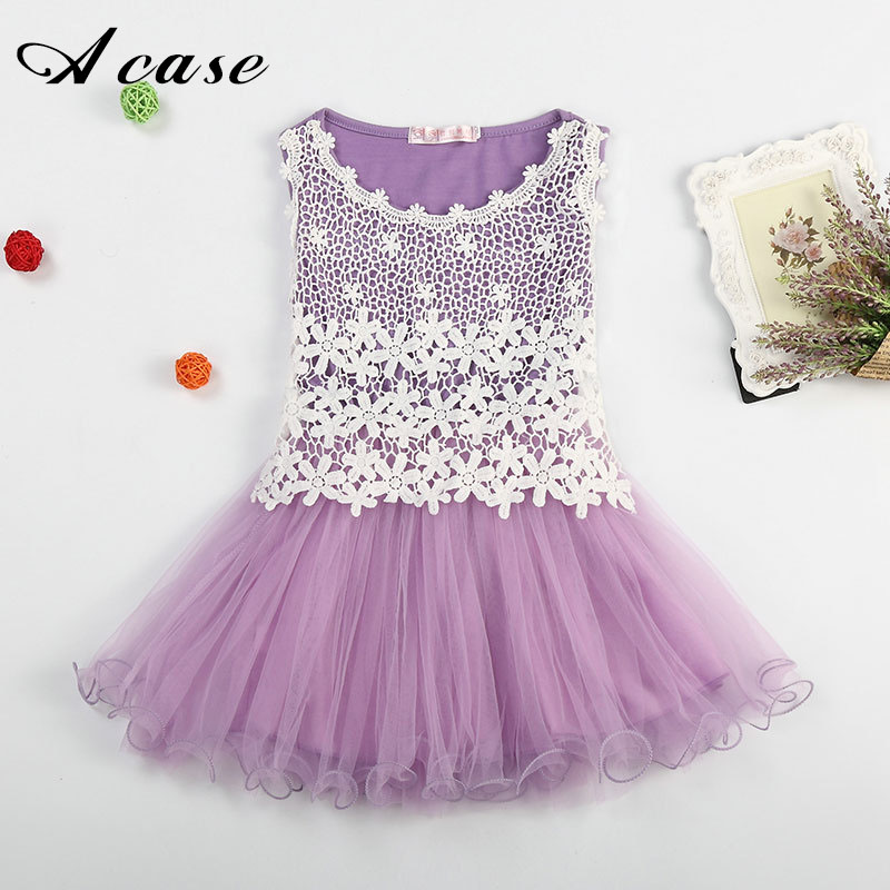 2018 Summer New Lace Flowers Girls Vest Dresses High Quality Toddler Tutu Ball Gown Clothing Hollow Mesh Kids Sleeveless Dress new arrival girls sleeveless summer tutu dress 3 12years toddler teenage boutique clothing fancy dresses blue purple pink white
