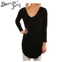 Blooming Jelly Casual T-shirt Vrouwelijke Lange Shirt Vrouwen Dubbele Side Slit Eenvoudige Herfst Top Zwarte T-Shirt Vrouwelijke Tee Shirt 2017