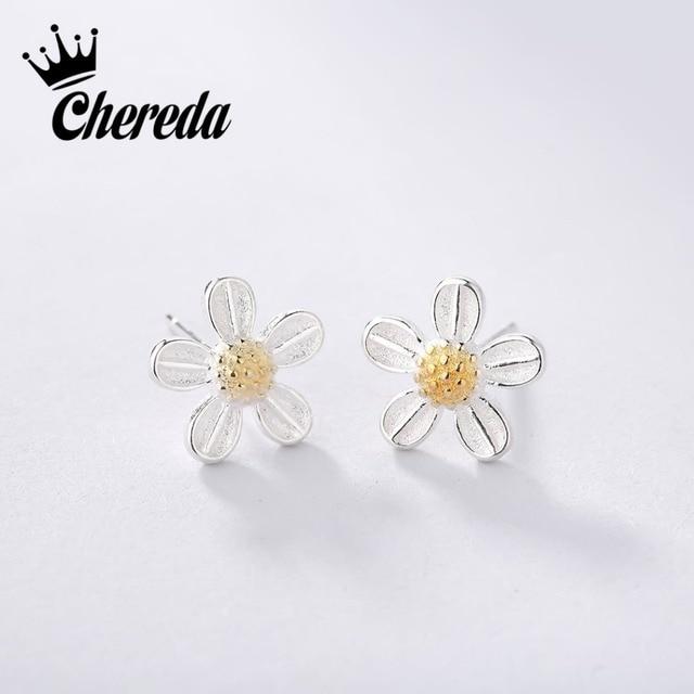 Chereda 925 Sterling Silver Tiny Flower Vintage Earrings For Woman Wedding Jewel