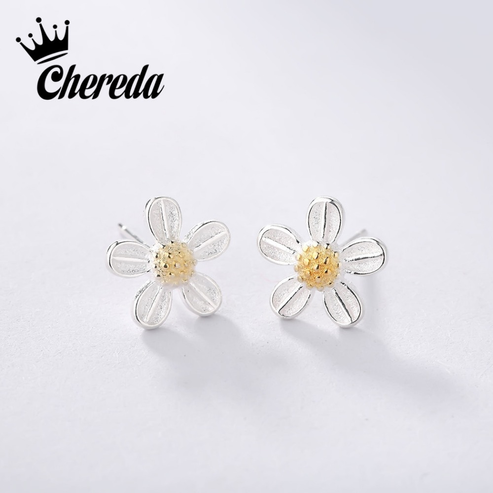 Chereda 925 Sterling Silver Tiny Flower Vintage Earrings For Woman Wedding Jewelry Gifts Peach Blossoms Fashion Jewelry