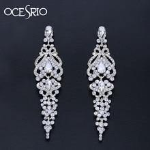 Pendientes de boda OCESRIO largos de cristal para novias, candelabro de plata, Pendientes colgantes, accesorios de boda, joyería de moda, ers-n58