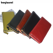 Hot Lady Female wallets High quality Genuine Leather Wallet Women Long Style Cowhide Purse Capacity Clutch