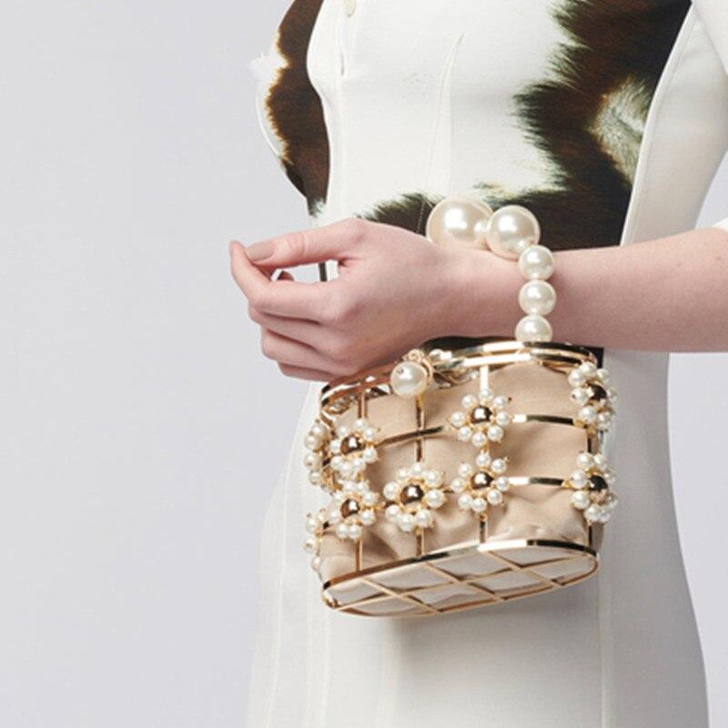 Luxury Qood Quality Metal Rhinestone Hollow Basket Design Women Party Handbag Evening Bag Female Bolsa Totes