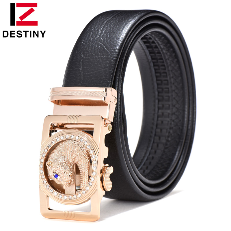 DESTINY Luxury Famous Brand Designer Belts Men High Quality Male Genuine Leather Strap Waist Wedding Belt For Jeans Leopard Wolf