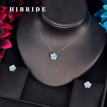 HIBRIDE Luxury Cubic Zircon Inlay Jewelry Sets For Women Bride Fashion Small Link Chain Pendientes Jewelry Set Brincos N-627(China)