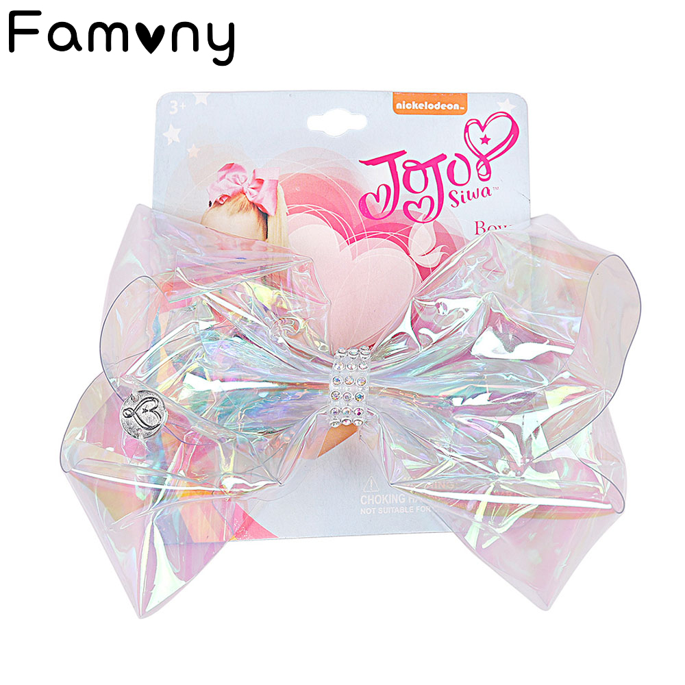 """6"""" Transparent Rainbow Hair Bow With Clip Girls Summer Style Bowknot Cute Pompom Hair Accessories For Kids Hair Accessories"""
