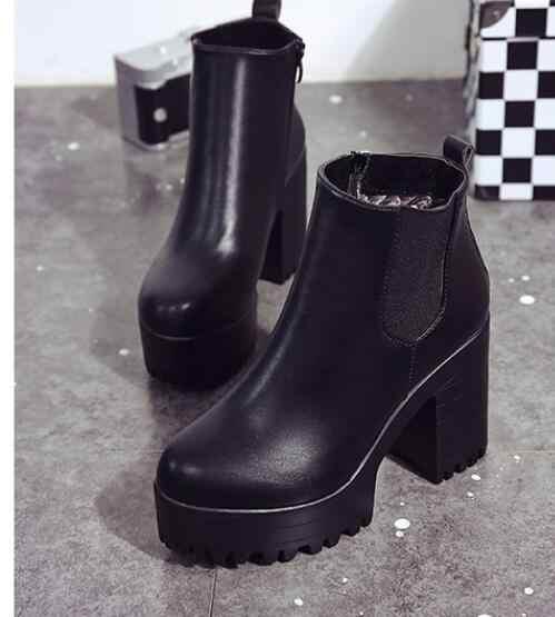 סתיו אופנה נשים מגפי כיכר העקב פלטפורמות שחור עור מפוצל ירך גבוהה משאבת מגפי נעלי אופנוע