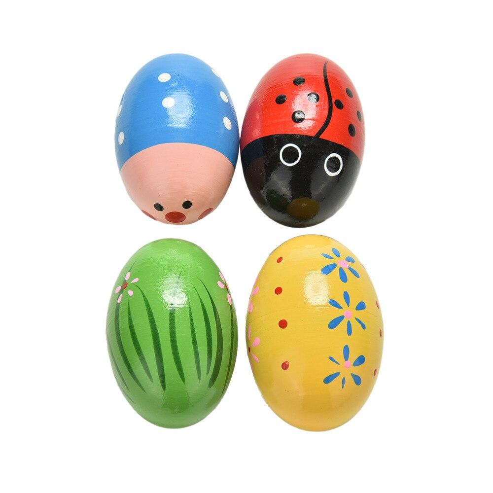 1pcs Wooden Sand Eggs Instruments Percussion Musical Toys Color Randomly