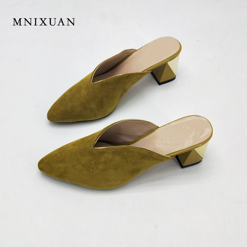 MNIXUAN mules shoes women leather 2018 summer new ladies pumps sandals shallow pointed toe 6cm height