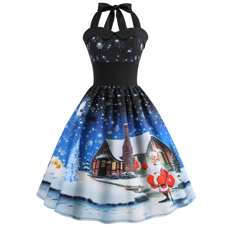 fa227966bc9eb ... 2018 Plus Size 2XL Christmas Tree Snowman Halter Dress Open Back Lace Up  50s Vintage Swing ...