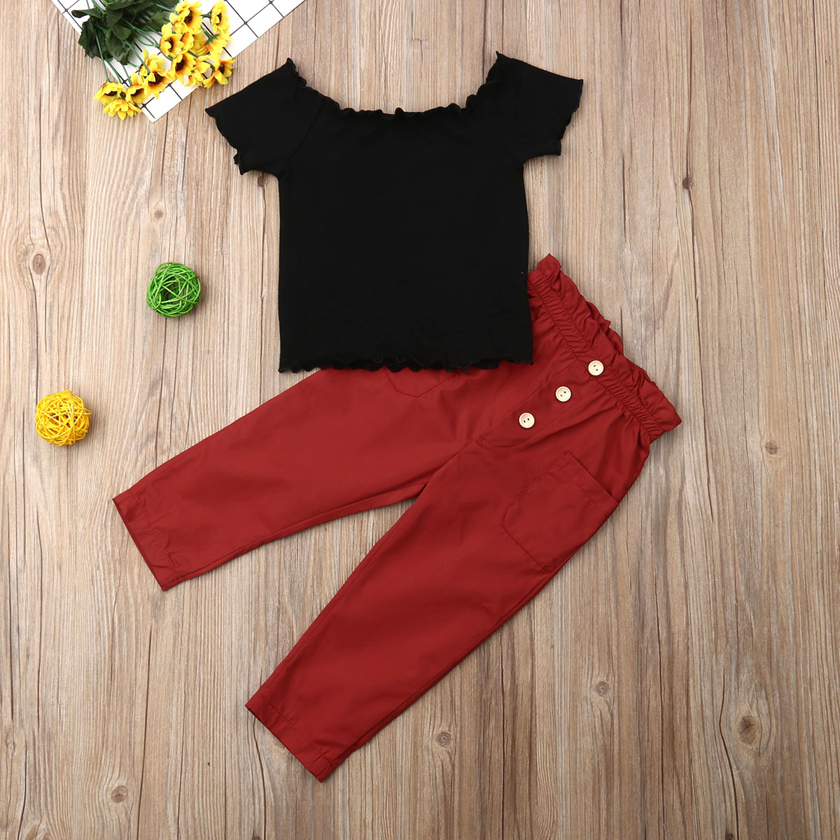Pudcoco Toddler Baby Girl Clothes Solid Color Off Shoulder Ruffle Tops Long Pants 2Pcs Outfits Cotton Clothes